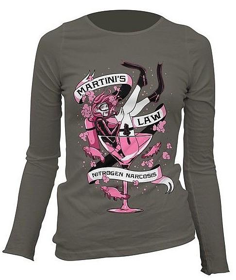 Taucher T-Shirt Lady Martinis Law Langarm Shirt 100% Baumwolle Leibchen Gr. M